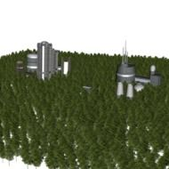 High buildings in the forest clipart