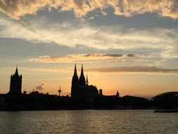 silhouette of cologne cathedral at Sunset sky, germany