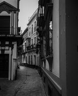 Old Street in spain in black and white