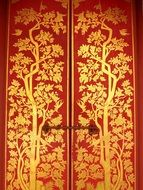red canvas with gold pattern