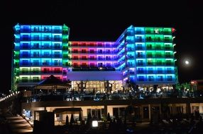 building in colorful night lighting in turkey