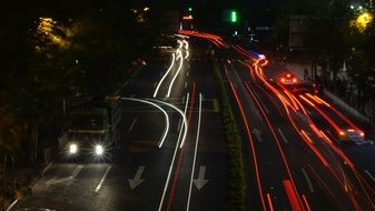 on the highway in shanghai at night