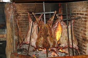 lamb on a fire in argentina