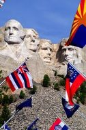 Mount Rushmore Flags and statue