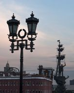 vintage street Lantern at evening sky, Russia, Moscow