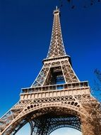 Eiffel Tower in Paris against the blue sky