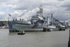 warship is moored in London