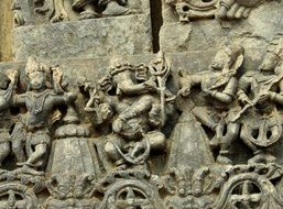 sculptures on the ancient temple in Karnataka