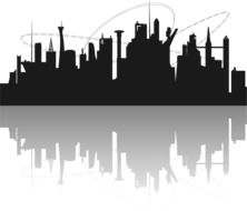 Silhouette Futuristic City drawing