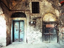doors to an abandoned building in Istanbul