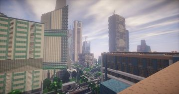 minecraft map with skyscrapers