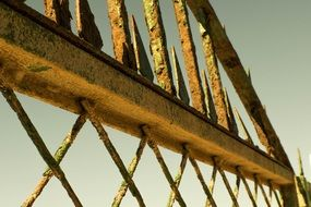 fragment of rusty Metal fence at sky