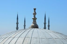 roof of Blue Mosque in Istanbul