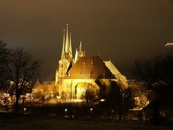church with lighting at night