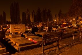 cemetery candles in the dark