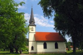 religious church with a spire