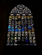 beautiful stained glass window in religion cathedral