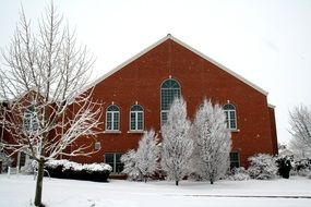church for the trees in hoarfrost