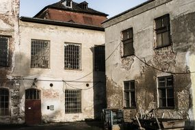 old ruins of factory building