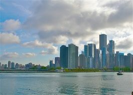 Lake Michigan and Chicago skyline, usa, illinois