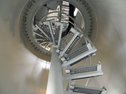 spiral metal staircase in the tower