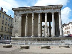 ancient roman temple of Augustus and Livia in city, france, Vienne