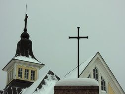 crosses on the roof of the church