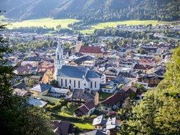 Schladming city panorama in Austria