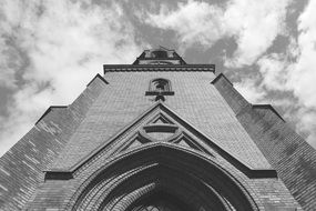 black and white image of the church in oslo