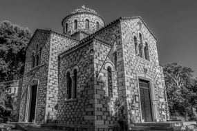 black and white photo of an orthodox church in greece
