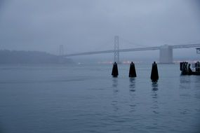 panorama of the bridge in the fog in San Francisco