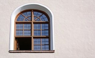 rustic arched window