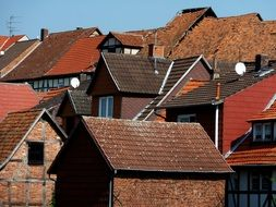red clay tile Roofs of houses in old town, germany, Bad Sooden-Allendorf