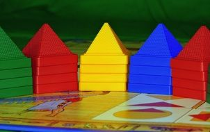 board game with colorful pyramids