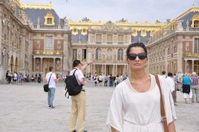 Woman on the square in Versailles France