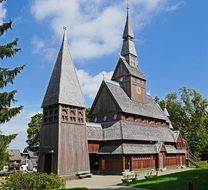 wooden church with spiers