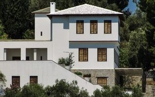 house with white walls in greece