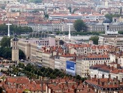 aerial view of old town of Lyon
