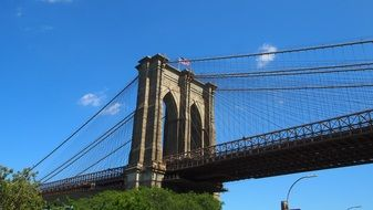 brooklyn bridge over river in new york
