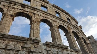 ruins of an ancient amphitheater in Pula