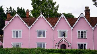 pink residential house