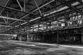 large hall of the destroyed factory