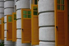 windows with wooden shutters in singapore