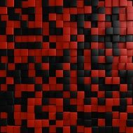 black and red tiles on the wall