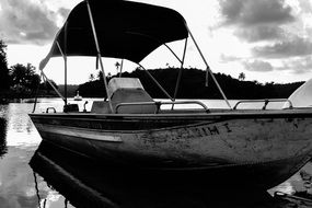 black white photo of a boat on the water in the park