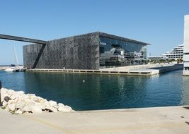 building of the museum on the water in marseille