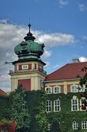 palace with a tower in Lancut, Poland
