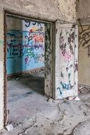 graffiti on the walls of an abandoned building
