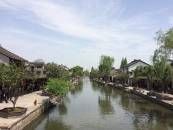 river in old town in china