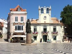 statue on a town square in Cascais